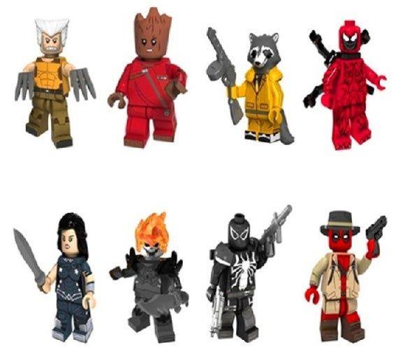Lot of 8 Super Heroes Minifigures (Deadpool, Wolverine Ghost Rider, Man Tree, Ra…