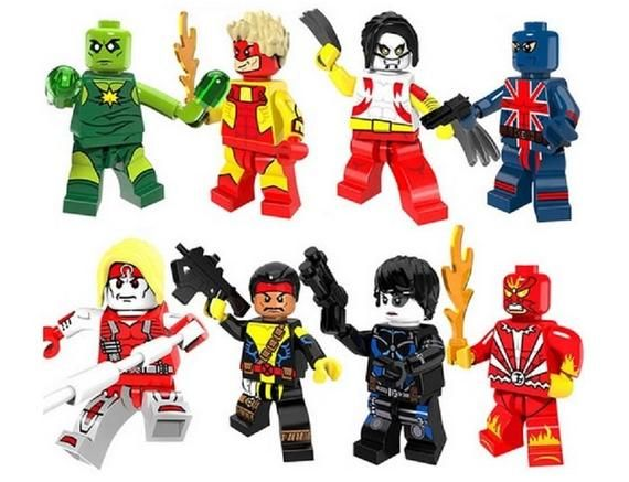 Lot of 8 Super Heroes Minifigures (Omega, Domino, Forge, Forge Pyro, Claw, Sunfi…