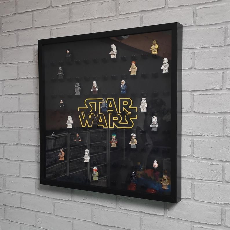 Lego Minifigure Display Frame Large Storage Case – Fits 104 Figures – Black, Star Wars