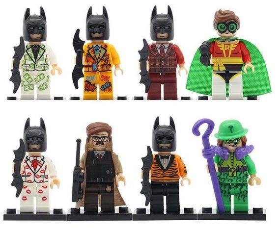 Lot of 8 Minifigures Super Heroes Batman (Commissioner James Gordon, Robin, Riddler Enigma.