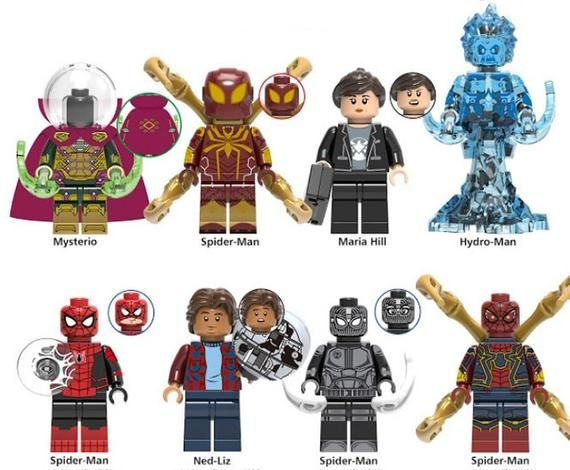 Lot of 8 Super Heroes Minifigures (Mysterio, Iron Spider, Maria Hill, Hydro-Man,…
