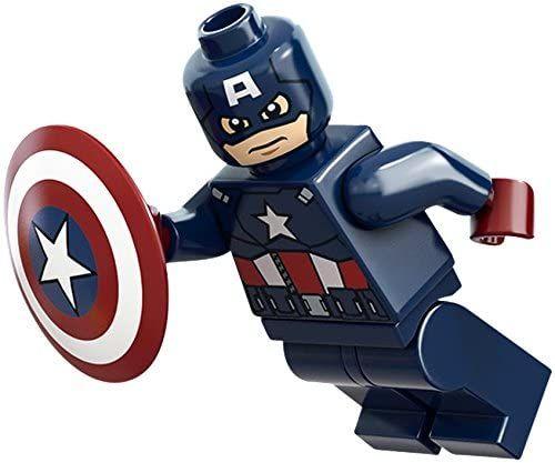 LEGO Marvel Super Heroes Minifigure – Captain America Dark Blue with Shield