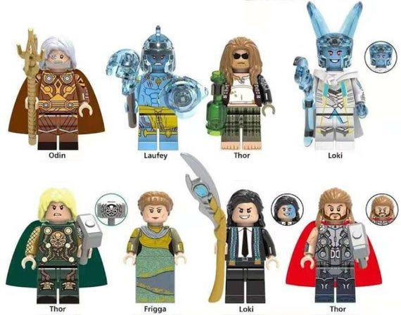 Lot of 8 Super Heroes Minifigures (Odin, Laufey, Thor, Loki, Frigga). customized