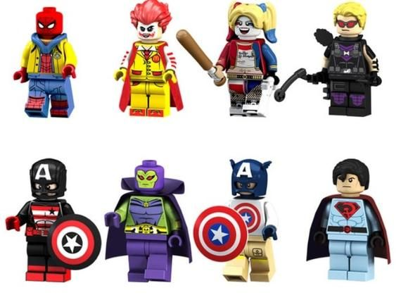 Lot of 8 Super Heroes Minifigures (Spiderman, Joker, Harley Quinn, Hawkeye, Captain America, Drax the Destroyer). customized