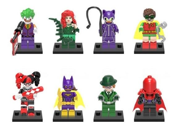 Lot of 8 Super Heroes Minifigures (Joker, Poison Ivy, Catwoman, Robin, Harley Quinn, Batgirl, Riddler Enigma, Red Hood). customized