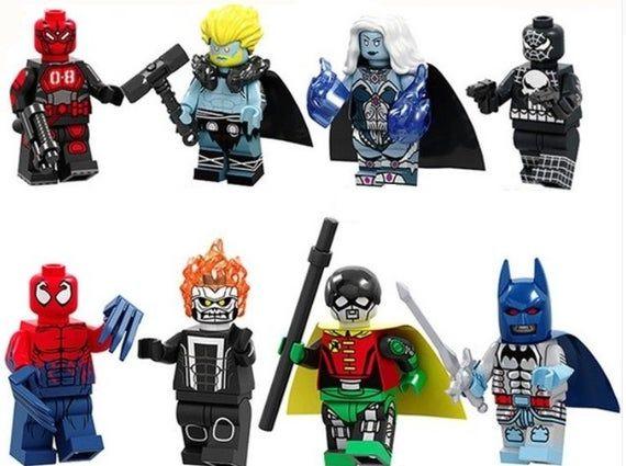 Lot of 8 Super Heroes Minifigures (Mr.8, Thor, Killer, Spiderman Punisher, Punis…