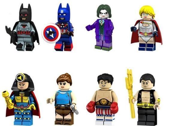 Lot of 8 Super Heroes Minifigures (Captain America with Batman, Joker, Power Gir…