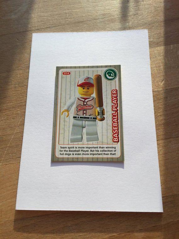 Baseball Player Greetings Card. Hand made card made using a Lego Create Card. Le…