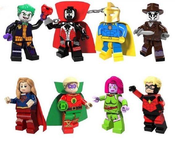 Lot of 8 Minifigures Joker, Spawn, Doctor Fate, Rorschach, Supergirl, Green Lant…