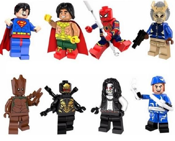 Lot of 8 Minifigures Superman, El Dorado, Spider-Man, Gill Mongol Black Panther,…