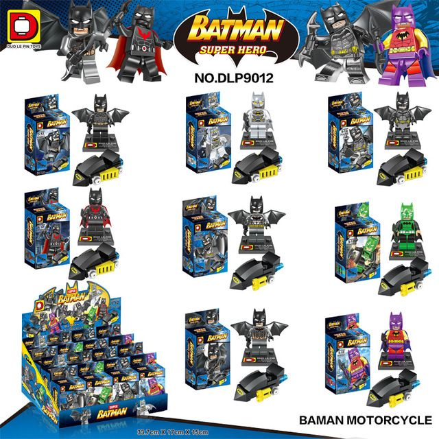 8pcs/lot DLP 9012 Super Heroes Minifigures Batman Motercycle Building Blocks Set…