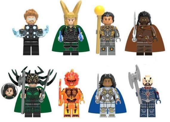 Lot of 8 Super Heroes Minifigures (Thor, Loki, Topaz, Heimdall, Hela, Surtur, Va…
