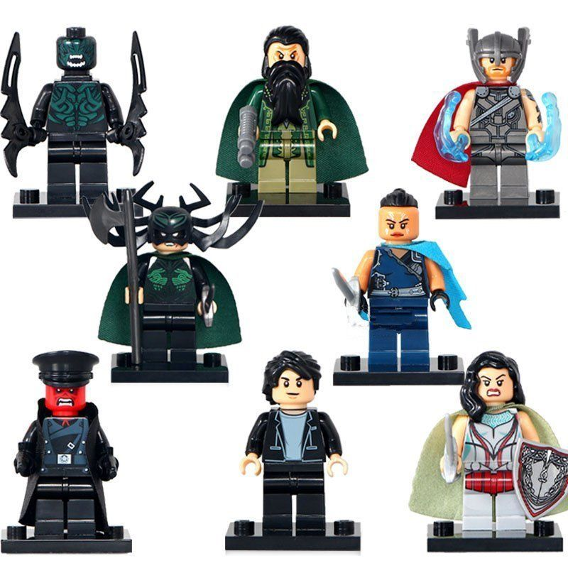 8pcs Minifigures Thor Hela Beserker Mandarin Sif Valkyrja Marvel Super Heroes Compatible Lego