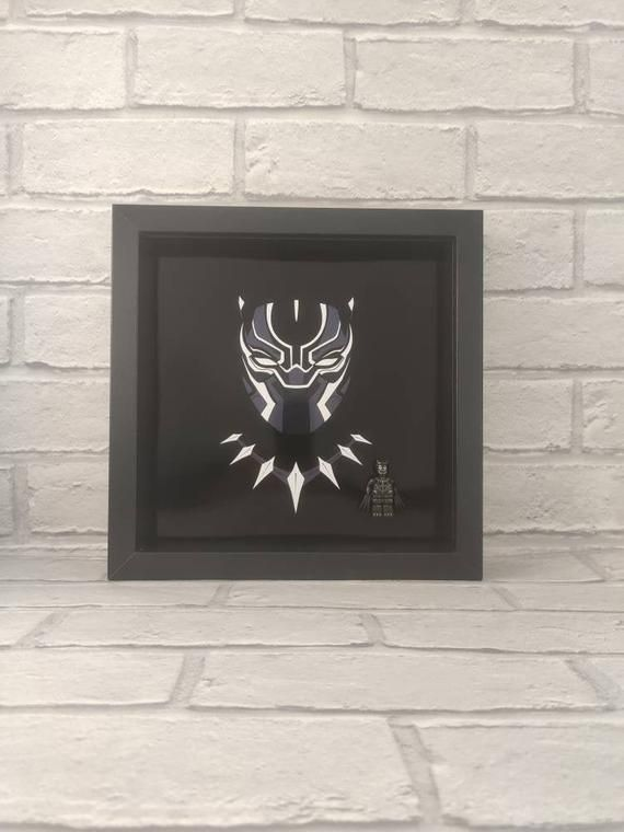 Black Panther Superhero, box frame with custom minifigure Birthday Dad Daddy Grandad Grandparents Father, .