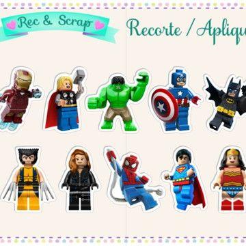 30 Recorte Tag Topper Lego Super Herois Vingadores 4cm