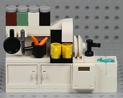 LEGO – Kitchen Cupboard w/ Sink Dishwasher Coffee Maker Cabinet Minifigure Food