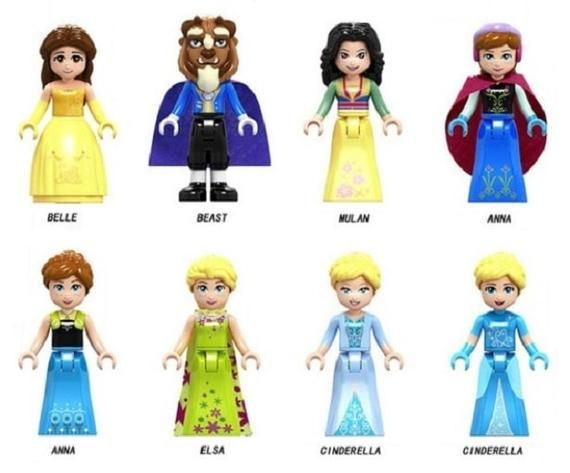 Lot of 8 Disney Princess Minifigures (Belle Bella, Beast Beast, Mulan, Anna Ana,…