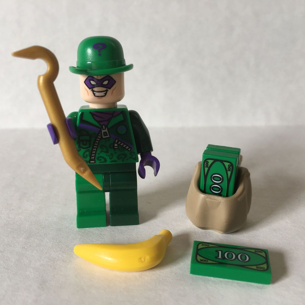 Lego Batman THE RIDDLER MINIFIGURE 76012 Money Gold Crook DC Comics Super Heroes