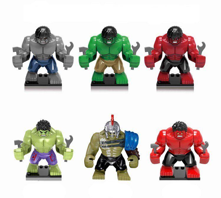 6pcs The Hulk Minifigures Compatible Lego Super Heroes building block Toy