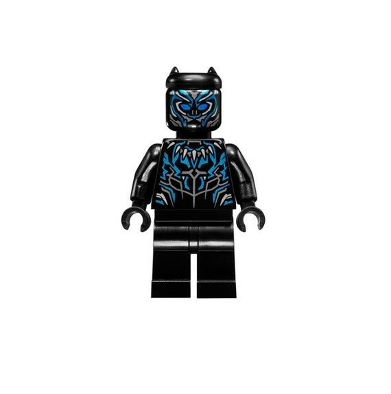 Lego MINIFIGURE Black Panther, Claw Necklace, Metallic Blue Highlights