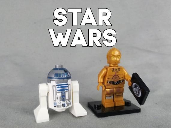 C3P0 and R2D2 Custom Minifigures, Works with any Building Block Set