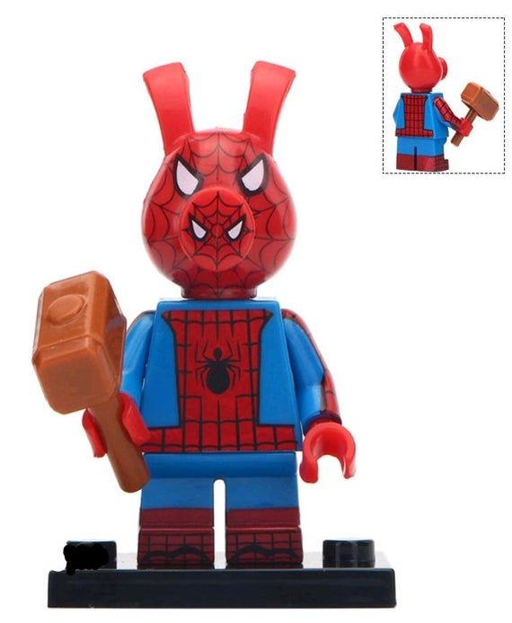 Spider Ham Custom minifigure. Made to fit lego.  Brand new in package.  Please visit shop, lots more!