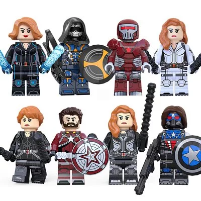 8PCSLot Taskmaster, Red Guardian, and More Black Widow Minifigures Fit Lego KT1038