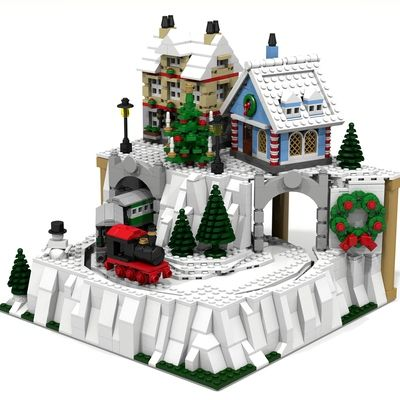Christmas Village with Moving Train