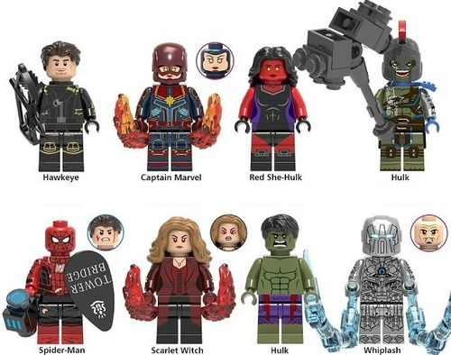 8PCSLot Red She-Hulk, Gladiator Hulk, Whiplash, and More Marvel Minifigures Fit Lego X0244