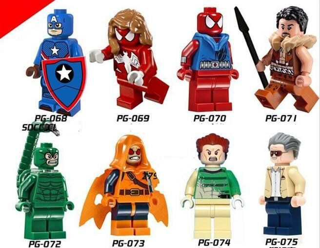 SDCC Spiderman Captain America Blocks Lego Minifigures Compatible Toys