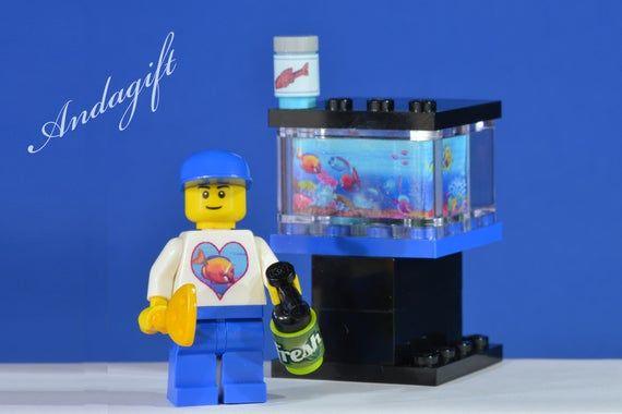 LEGO NEW large fish tank aquarium custom set with custom minifigure including fi…