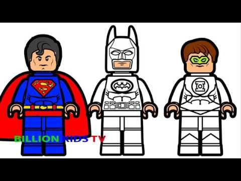 Lego Batman And Lego Superman With Lego Green Lantern Coloring Book Coloring Pages Kids Fun Art