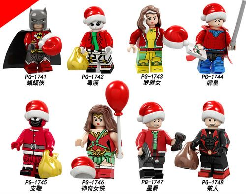 8PCSLot Christmas Themed Minifigs Featuring CBatman, Gambit, Rogue, And More Minifigs Fit Lego P8199