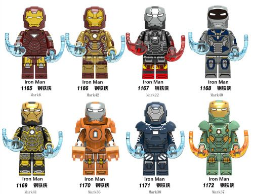 8PCSLot Iron Man Custom Marvel Super Heroes Minifigs Minifigures Fit Lego X0246