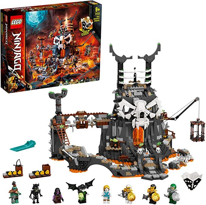 LEGO 71722 NINJAGO Skull Sorcerer's Dungeons 2in1 Building Set & Board Game with 8 Minifigures