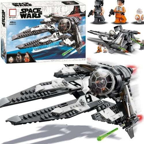 SPACE WARS Star Wars BLACK ACE TIE INTERCEPTOR Buildings Blocks Set Fit Lego NO BOX LA11421