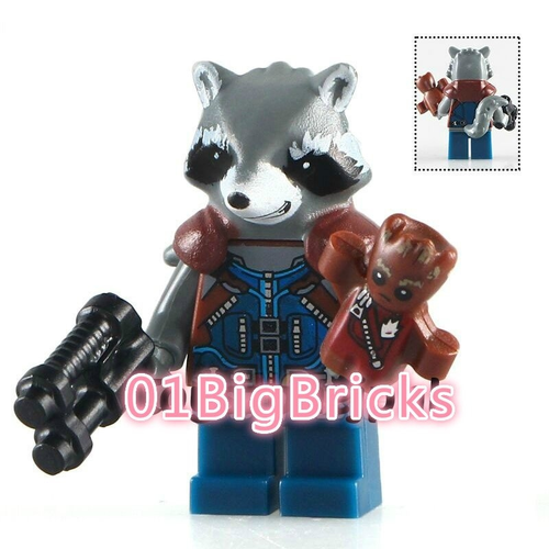 01 Big Bricks Custom Groot Raccoon Mavrel DC SuperHeroes Minifigures Toy Mini figure Fit Lego Blocks PG154