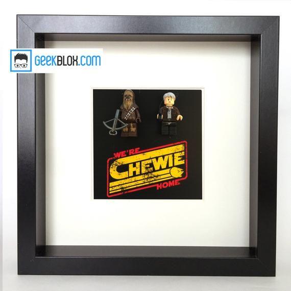 Han Solo & Chewbacca framed logo mingigure star wars | Etsy