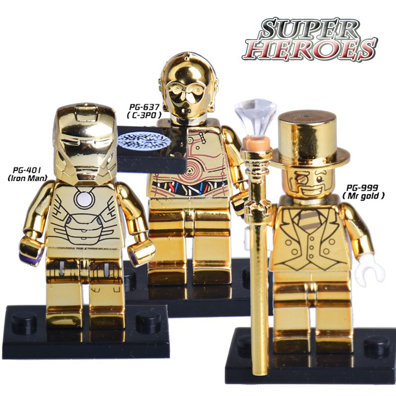 US $1.87 |1PC Star Wars C3PO Iron Man Mr Gold Limited Edition Chrom Golden Diy figures Superheroes Building Blocks Bricks Kids DIY Toys|superhero building blocks|building blocksdiy figure – AliExpress