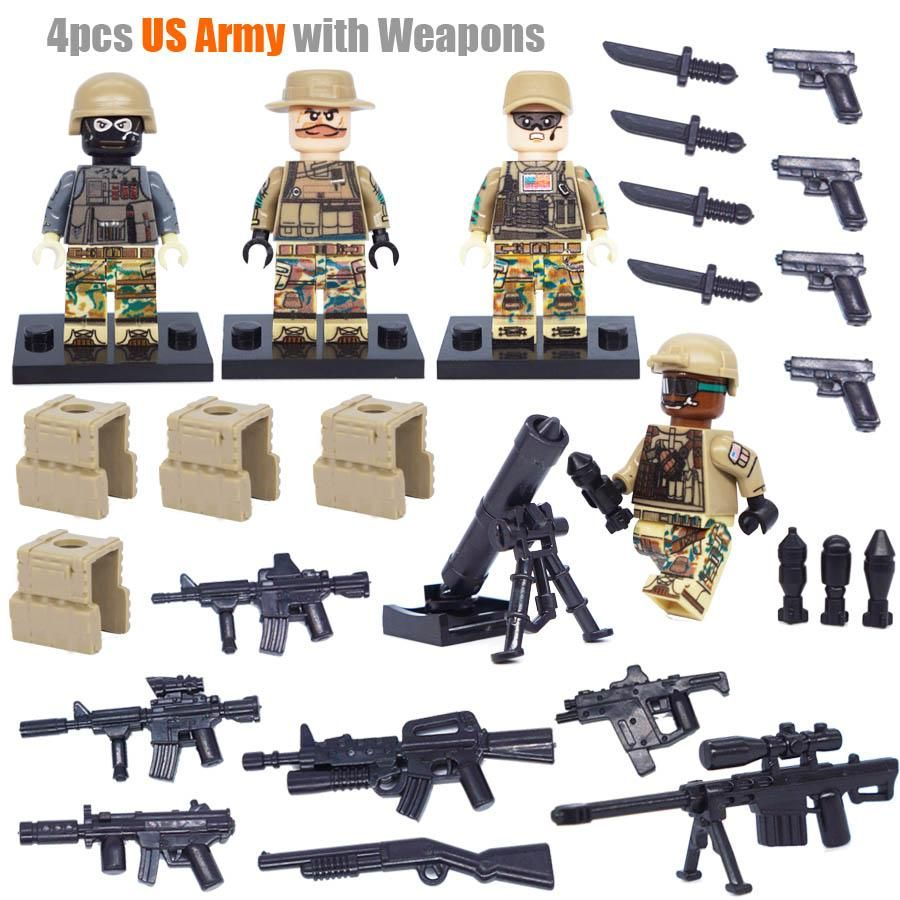Small World War 2 Sino-Japanese War Chinese Eighth Route Army Military Building Block Toy figures Brick with Weapons D165 – US Army