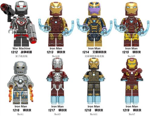 8PCSLot Iron Man Custom Marvell DC Super Heroes Minifigs Minifigures Fit Lego X0252