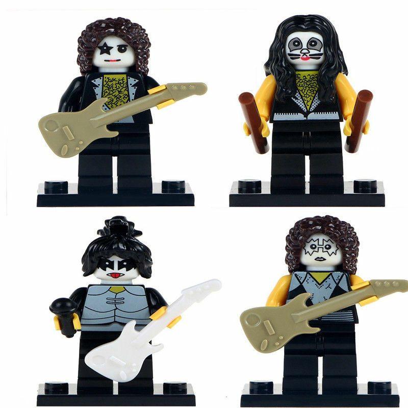 4Pcs American Rock Band The Kiss Paul Stanley Gene Eric Custom  Minifigures