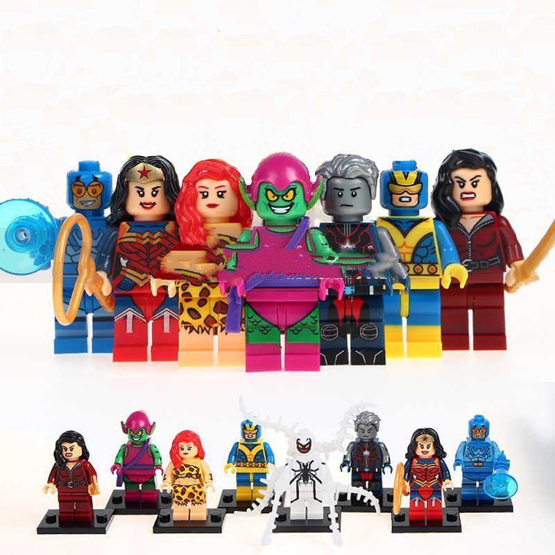DC Comics Super Heroes Blue Beetle Wonder Woman Minifigures Lego Compatible Toys