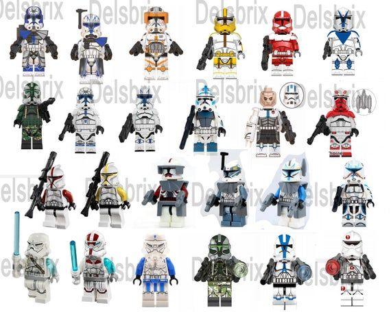 Clone commanders custom Minifigures Star Wars ARC wolfpack | Etsy